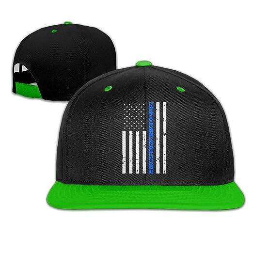 c525d8ecf0b AJHGD Honor Respect Thin Blue Line Flag Unisex Hip-Hop Flat Bill Snapback  Hats Plain