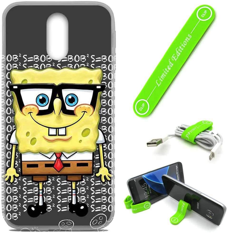 [Ashely Cases] LG Stylo 3 / Stylo 3 Plus (LS777) Cover Case Skin with Flexible Phone Stand - Spongebob Nerd G