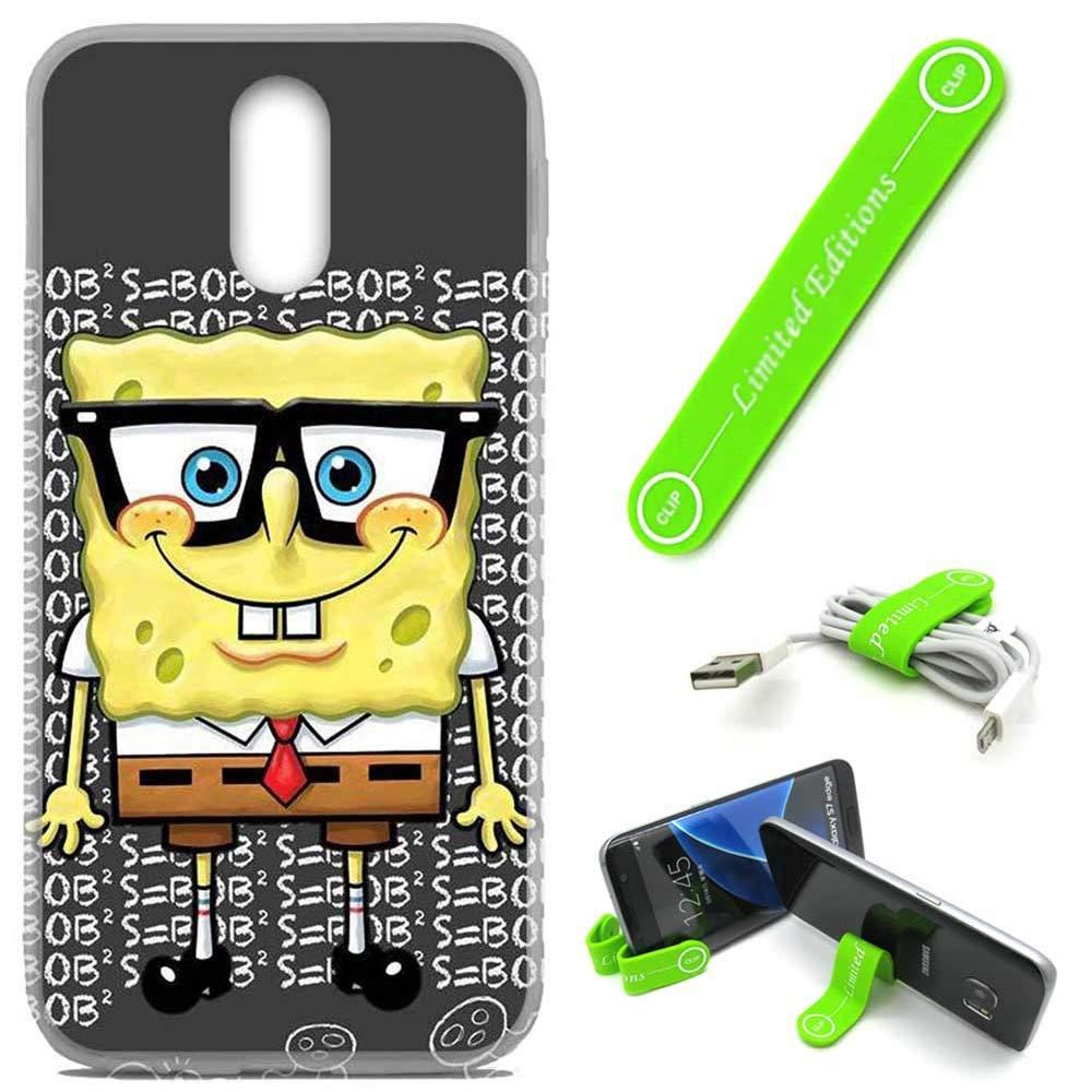 [Ashley Cases] For LG [Stylo 4] [Stylo 4+] [Stylo 4 Plus] Cover Case Skin With Flexible Phone Stand - Spongebob Nerd G