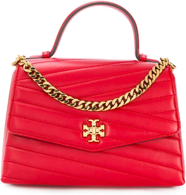 Tory Burch Women's Kira Chevron Leather Shoulder Bag Top Handle Red Apple, Medium
