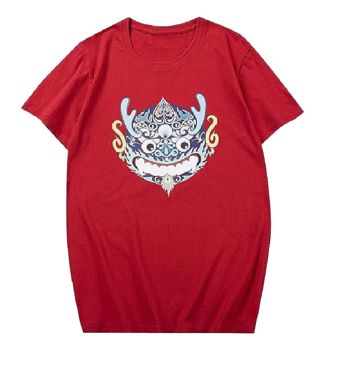 Zimaes-Men Short Sleeve 100/% Cotton Soft Breathable Loose T-Shirt Tops