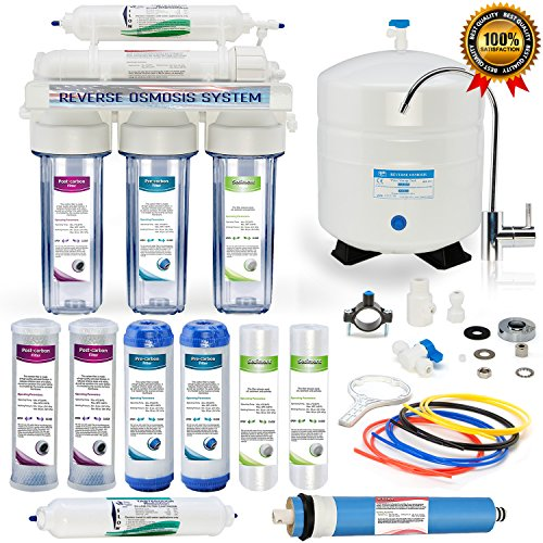 Global Water RO-507 5-Stage Reverse Osmosis System Water Quality Filter- CLEAR housing - 24 HOUR USA Tech Support - Plus Extra Set Of 4 Filters For Free by Global Water