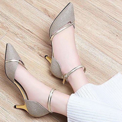 Avec Femmes EU36 High Femme Heeled Chaussures Avec Unique Chaussures Fine SHOESHAOGE Sandales Chaussures gwEUxnXq