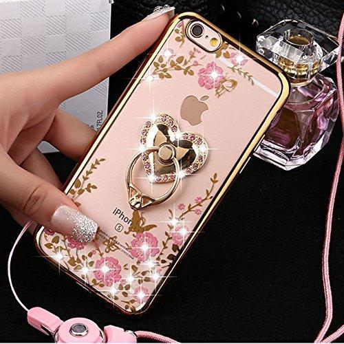 Funda iphone 6s Plus con Anillo cariñoso,SainCat Suave Silicona y Brillante Caja Protectora con Chispea Diamante Bring Glitter de Transparente ultra fino Funda de silicona de goma de TPU para Caso el  Oro de Earth Hao