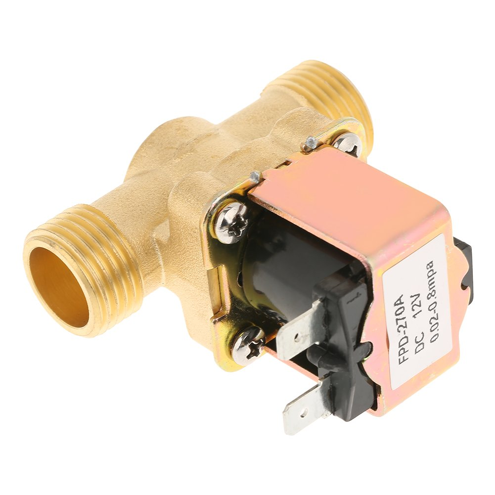 Goick 1//2 DC 12V Normally Closed Brass Electric Solenoid Valve for Water Control Solenoid Valve