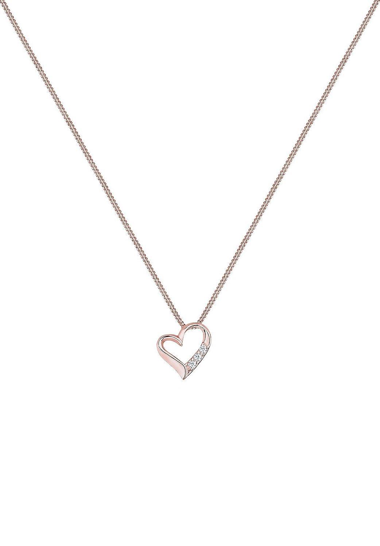 DIAMORE Women's 925 Xilion Cut Diamond Heart Necklace Length qSX7pYUWx