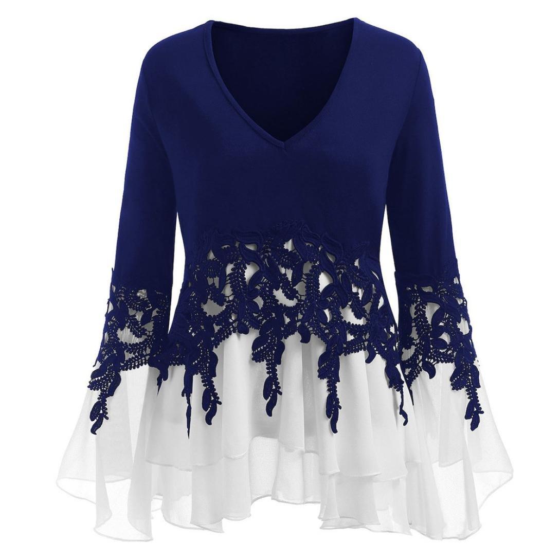Minisoya Women Long Sleeve V-Neck Casual Applique Patchwork T-Shirt Flowy Chiffon Blouse Pleated Tunic Tops Shirt (Blue, 2XL)