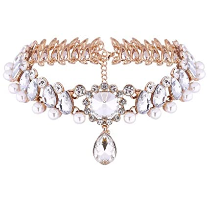 d0ebe281cc35 Image Unavailable. Image not available for. Color  Womens Vintage Pearl Collar  Crystal Diamond Chunky Choker Sexy Pendant Bib Necklace ...
