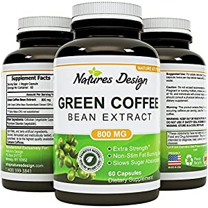 Pure Green Coffee Bean Extract - Standardized to 50% Chlorogenic Acid - Weight Loss Supplement for Men & Women - Burns Both Fat and Sugar - High Grade Natural Ingredients - by Natures Design