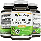 Pure Green Coffee Bean Extract - Highest Grade & Quality Antioxidant GCA (Standardized to 50% Chlorogenic Acid) for Men & Women (Best Formula) - Burns Both Fat and Sugar - Guaranteed By Natures Design