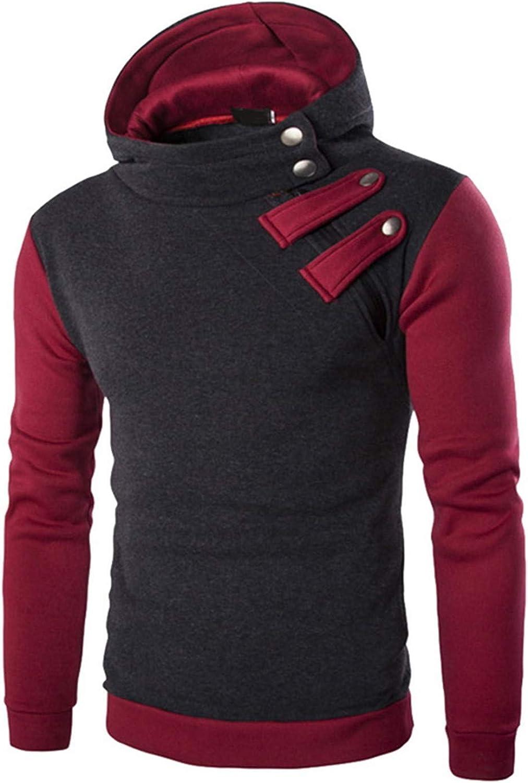 Mens Hoodies Sweatshirt Zipper Button Long Sleeve Hooded Jacket Coat Sportswear