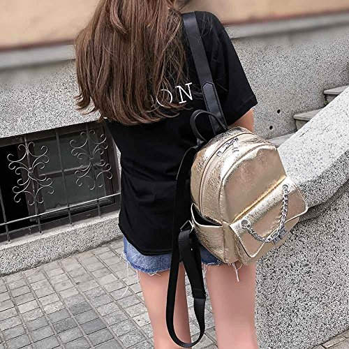 Women for Leather Shoulder Gold Mini Chain Domybest Backpacks Zipper Travel Bags Girls PU gd4B1qw
