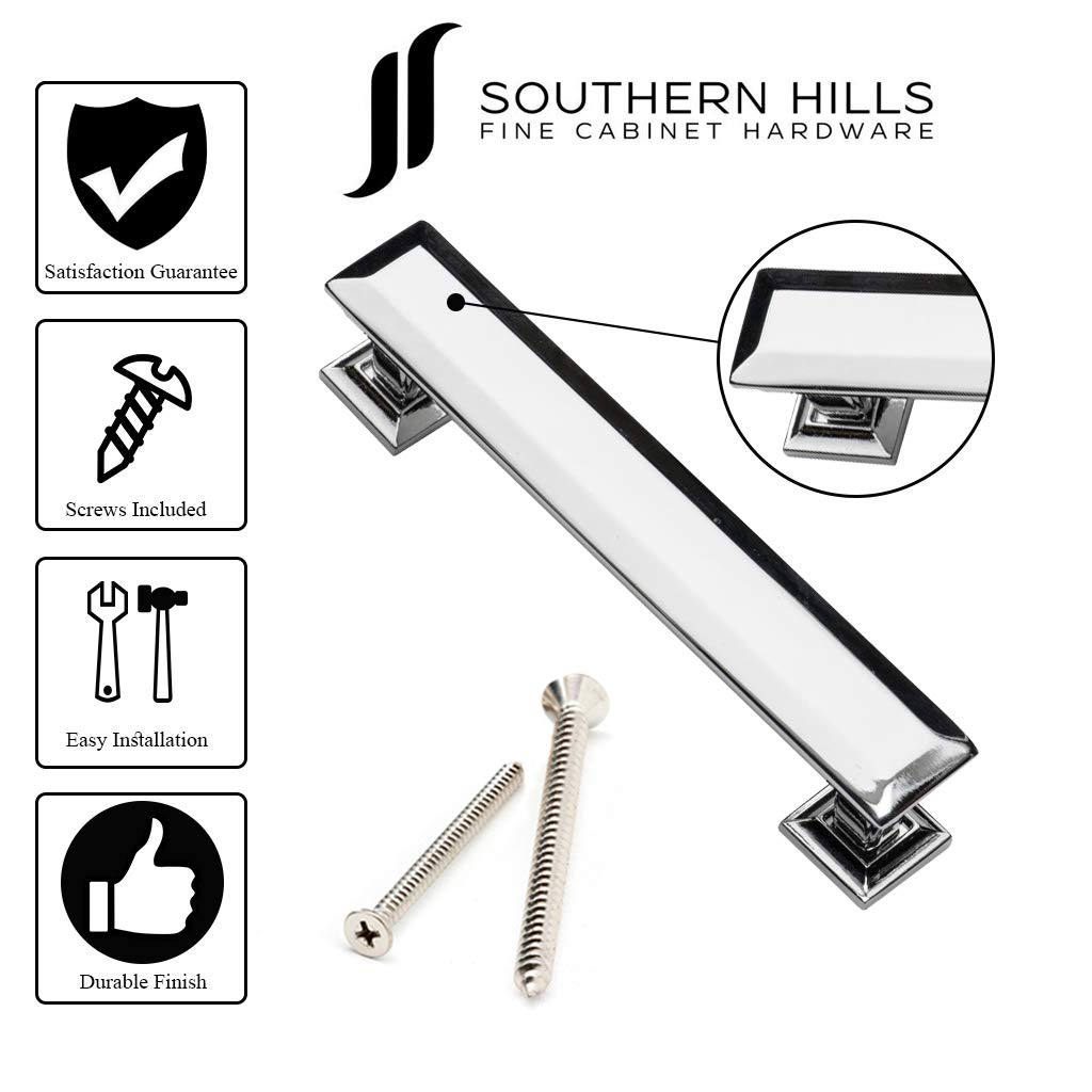 Southern Hills Cabinet Pull Polished Chrome, 4 Inch Screw Spacing, Beveled Handles, Pack of 5, Modern Cabinet Hardware by Southern Hills (Image #5)