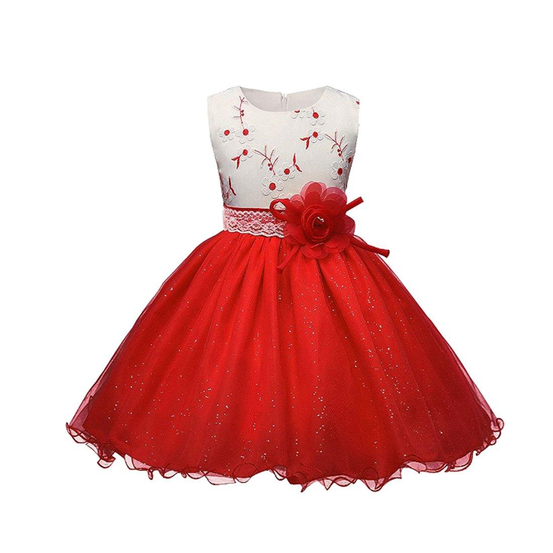 Aiweijia Child Girl Sleeveless Printed Girl Dress Battesimo Abiti da sposa