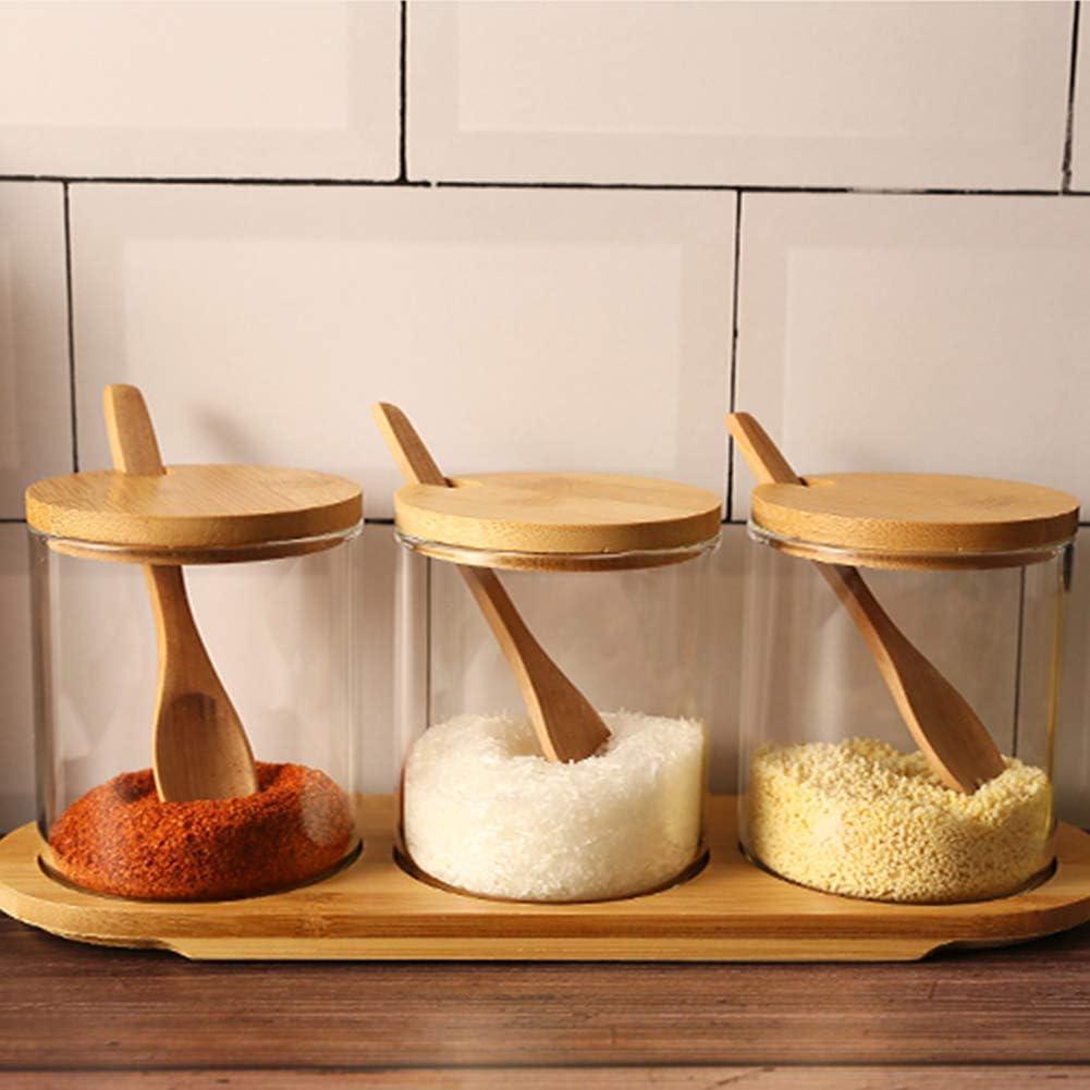 Caja de condimentos resistente al calor cucharas de servir y base antideslizante Juego de 3 tarros de especias de cristal 350 ml cada uno tapas de bamb/ú