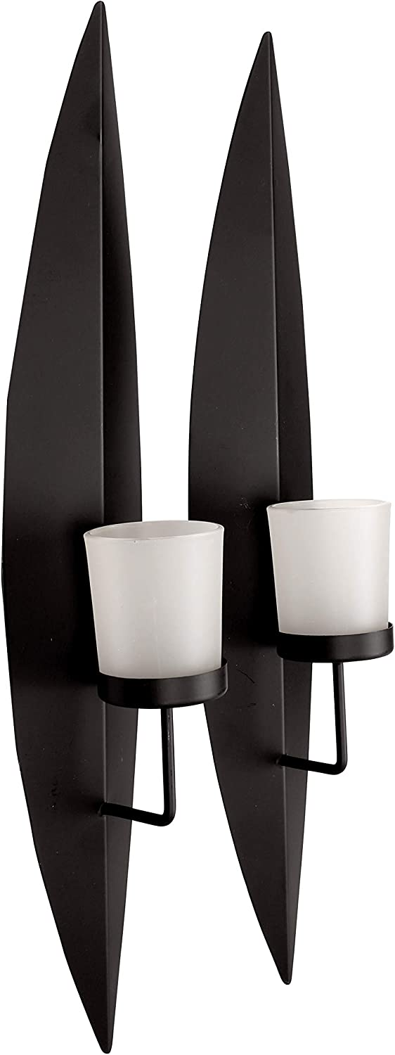 Set of 2 Metal Wall Sconce with White Frosted Glass Holder 3.5X18 Black