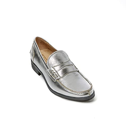 British Passport Loafer - Mocasines de Piel Para Mujer Plateado Plateado Plateado Size: 37 EU: Amazon.es: Zapatos y complementos