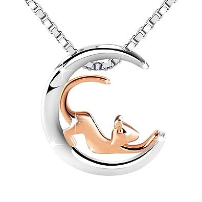 Amilril Collares Mujer, Colgante Luna y Gato, Plata de Ley 925 Moda Joyería 5A