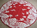Hawaiian Tropical Fabric Tablecloth (Red) (70'' round)