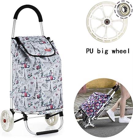 Carrito de compras plegable, carro de escalada Escalera de supermercado Carrito de utilidad de lavandería con rodamientos de ruedas Marco de PU Diseño de marco de coche de aleación de aluminio,C: Amazon.es: