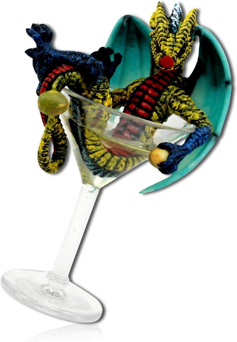 """Resin Blue Winged Dragon with sword Collectible Figurine Goblet Decor 6.5/""""H"""