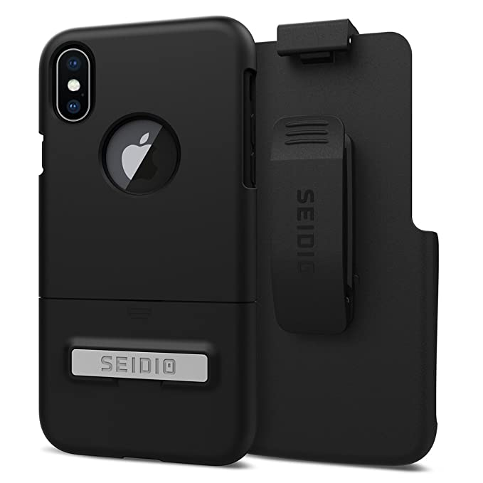 best service 35785 67e23 Seidio Surface Case and Holster COMBO for the Apple iPhone X (Black/Black)