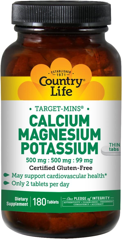 Country Life Target Mins Calcium Magnesium Potassium 500mg/500mg/99mg 180-Tablet: Health & Personal Care