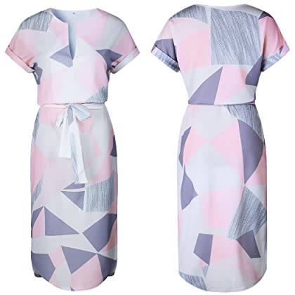 8a071f3ed79e ... ECOWISH Womens Dresses Summer Casual V-Neck Floral Print Geometric  Pattern Belted Dress Pink S