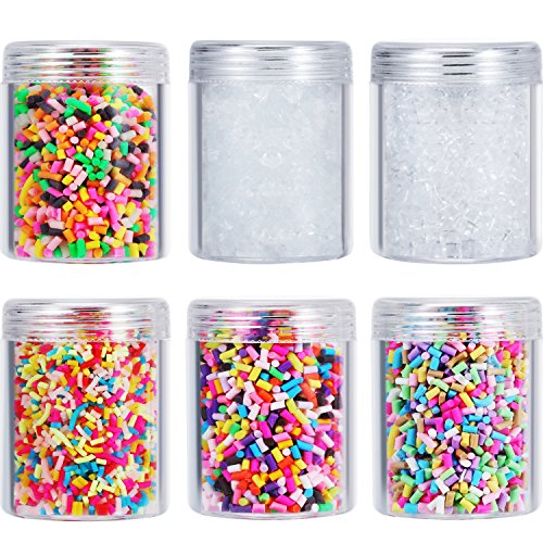 Zhanmai 6 Packs Colorful Fake Candy Sweets Sugar Chocolate Ice Sprinkles Decorations Fake Cake Dessert Simulation Food Slime Kit DIY Crafts Storage Bottles