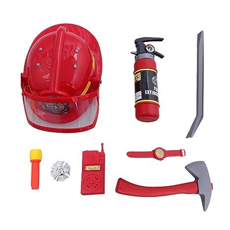 Toyvian 9pcs Pompiere Vigile del Fuoco Pompiere Costume Gioco di Ruolo Set per  Bambini con Casco 840f8d484778