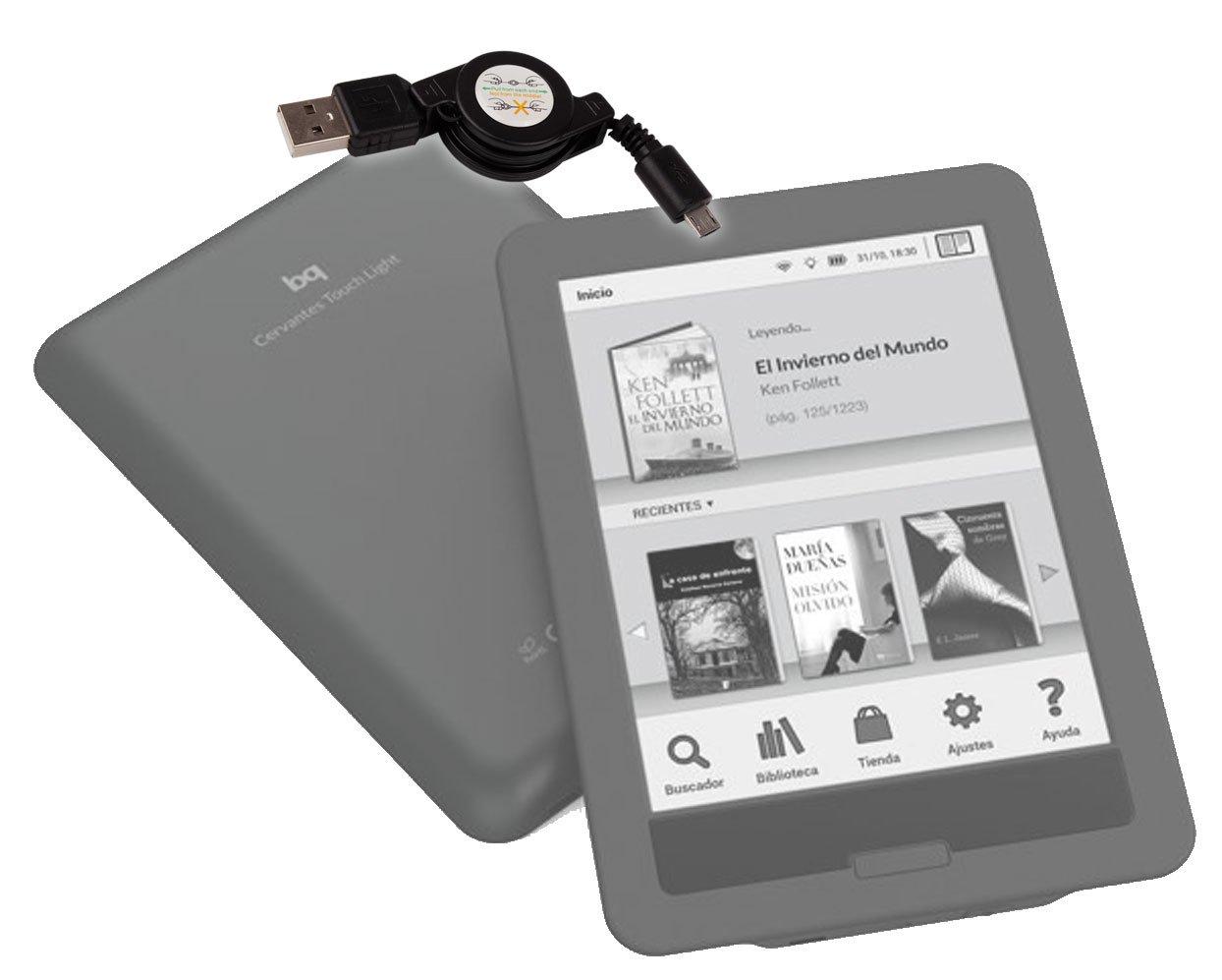 DURAGADGET Cable microUSB Retráctil para eBook BQ Cervantes E ...