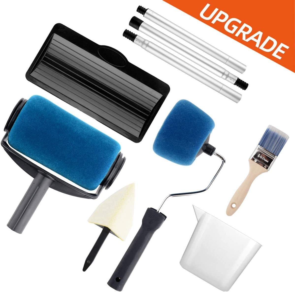 Paint Roller Set- Paint Brush, Paint Tray, Rollers Stick, Paint Edger, Paint Roller Pro, 9 Piece DIY Home Wall Decorate Runner Pro Painting Kit Tools