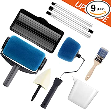 Paint Roller Set Paint Brush Paint Tray Rollers Stick Paint Edger Paint Roller Pro 9 Piece Diy Home Wall Decorate Runner Pro Painting Kit Tools Amazon Com