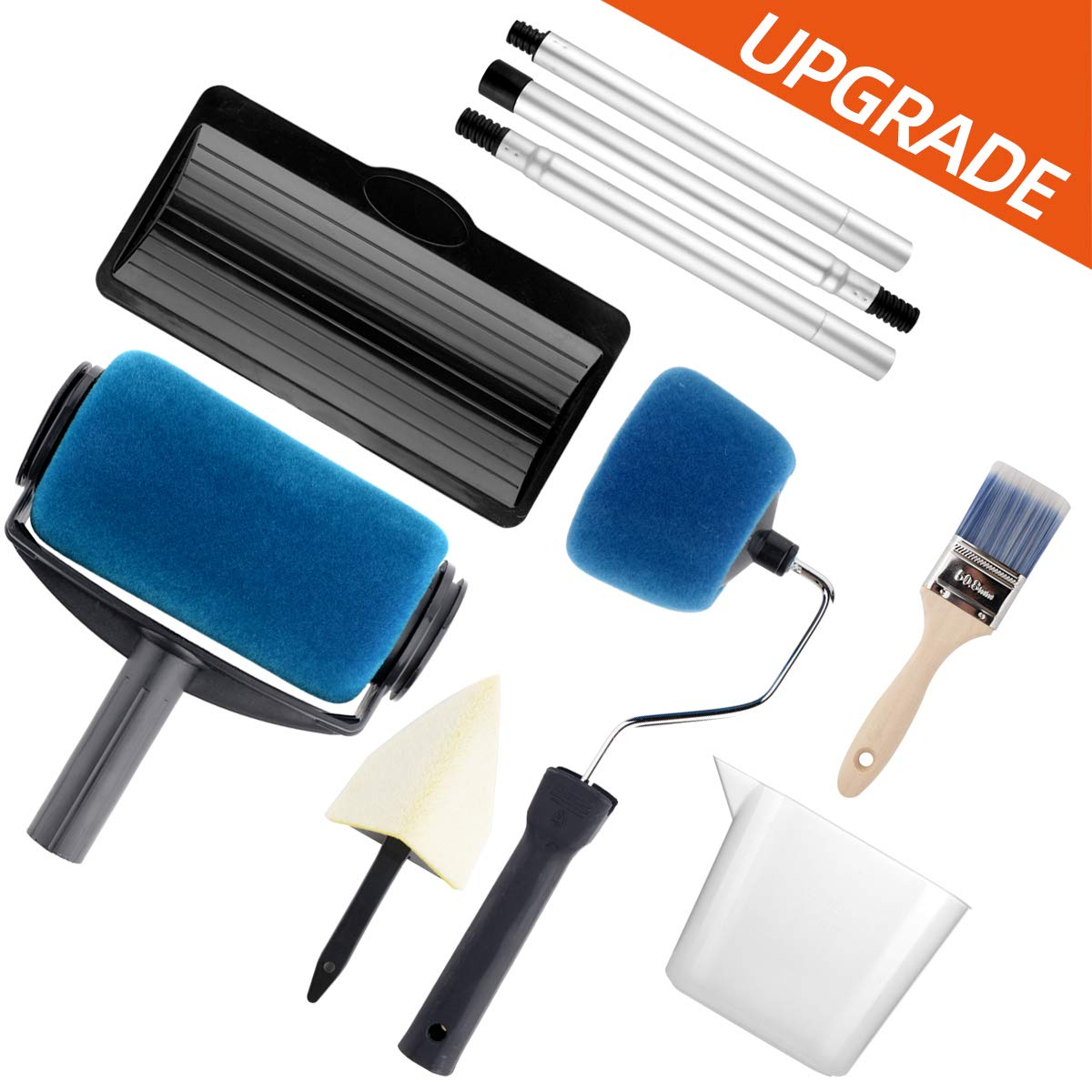 Paint Roller Set- Paint Brush, Paint Tray, Rollers Stick, Paint Edger, Paint Roller Pro, 9 Piece DIY Home Wall Decorate Runner Pro Painting Kit Tools by Nanja