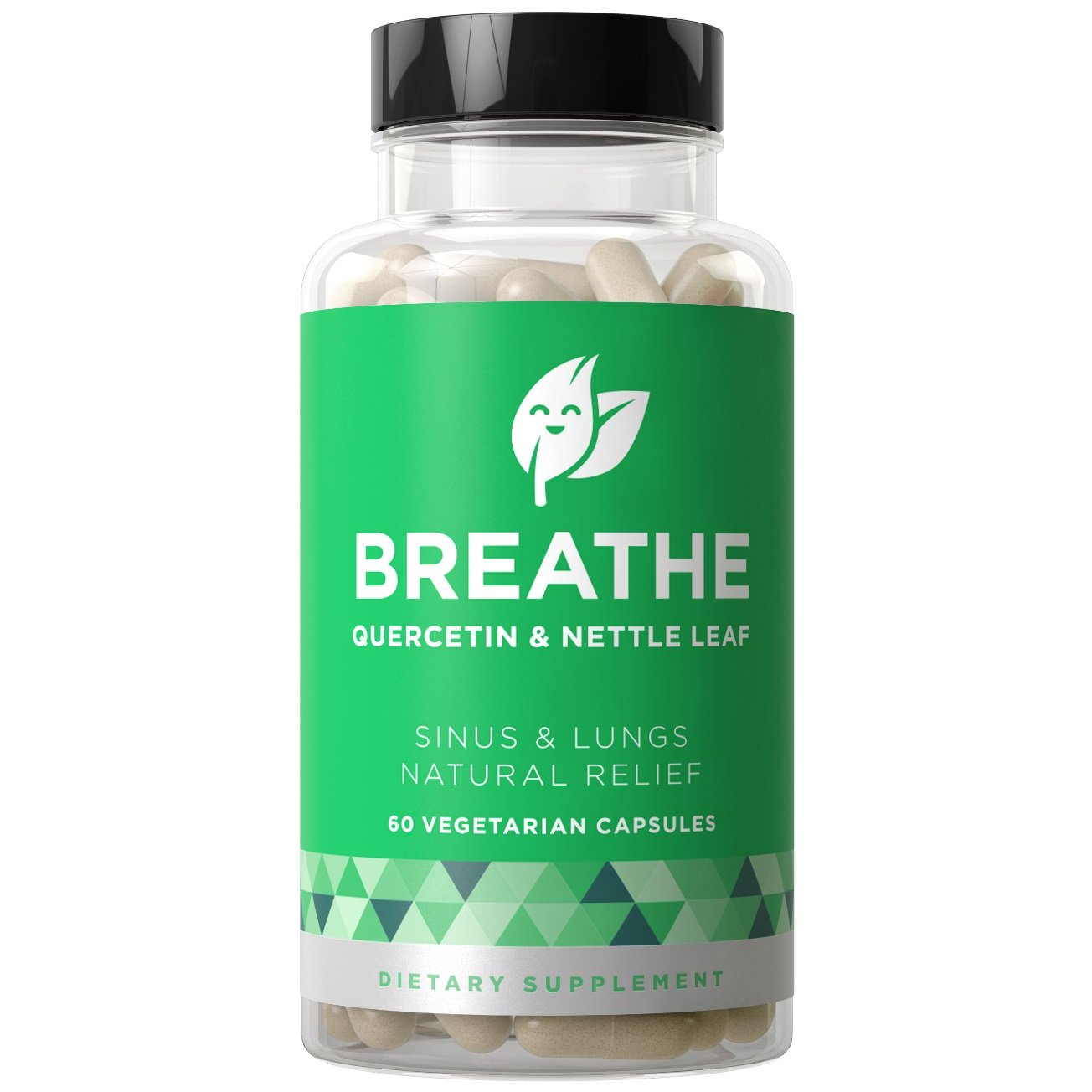 BREATHE Sinus & Lungs Respiratory Relief - Non-Drowsy Breathing Support to Fight Allergies, Nasal Irritation, Bronchial Inflammation - Quercetin & Nettle Leaf - 60 Vegetarian Soft Capsules
