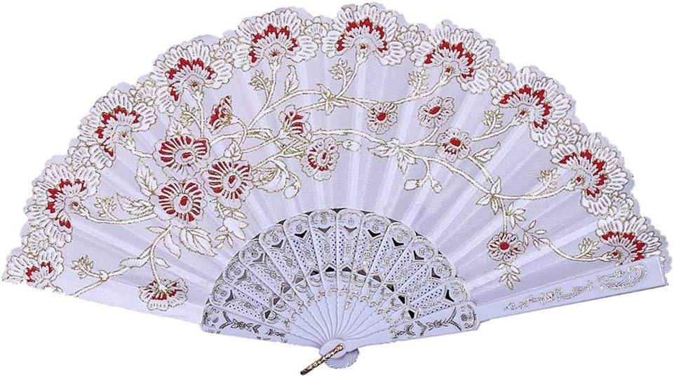 YWLINK Abanicos,Abanico De La Mano del CordóN del Banquete De Boda De Seda Plegable Mano Ventilador De La Flor Abanico Decorativo Fan del Baile Carnaval Regalo De Rendimiento(Blanco)