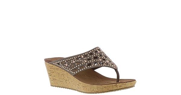 238464eabc9e Skechers Beverlee Dazzled Womens Wedge Thong Sandals Taupe 6.5
