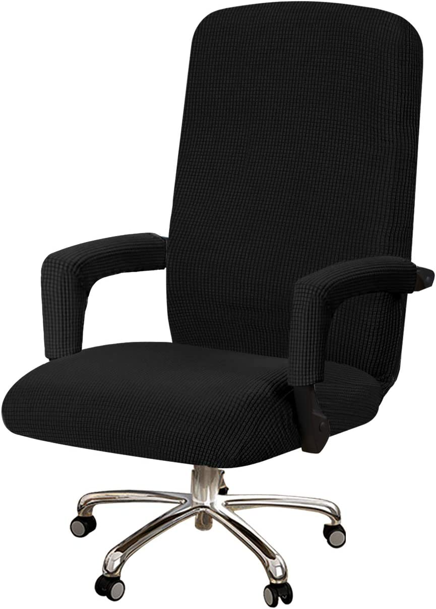 Turquoize Office Chair Cover Jacquard Office Computer Chair Covers Rotating Swivel Chair Cover with Armrest Covers Universal Boss Chair Cover Removable Washable Chair Cover Protectors, Black, Medium