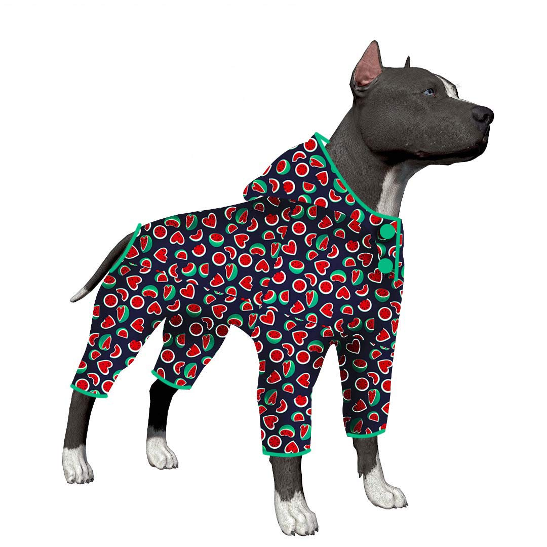 LovinPet Big Dog Pajamas, Lazy Day Watermelon Cozy Dog Pajamas, Slim fit, Lightweight Pullover Pajamas/Full Coverage Dog pjs/Please Reese Size Chart Before Ordering by LovinPet