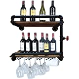 Industrial Wall Mounted Wine Racks with 4 Stem Glass Holder,24inch Rustic Metal Hanging Wine Holder Glass Rack,2-Tiers Floati