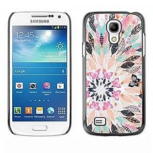 FECELL CITY // Duro Aluminio Pegatina PC Caso decorativo Funda Carcasa de Protección para Samsung Galaxy S4 Mini i9190 MINI VERSION! // Flower Drawing Abstract Pastel