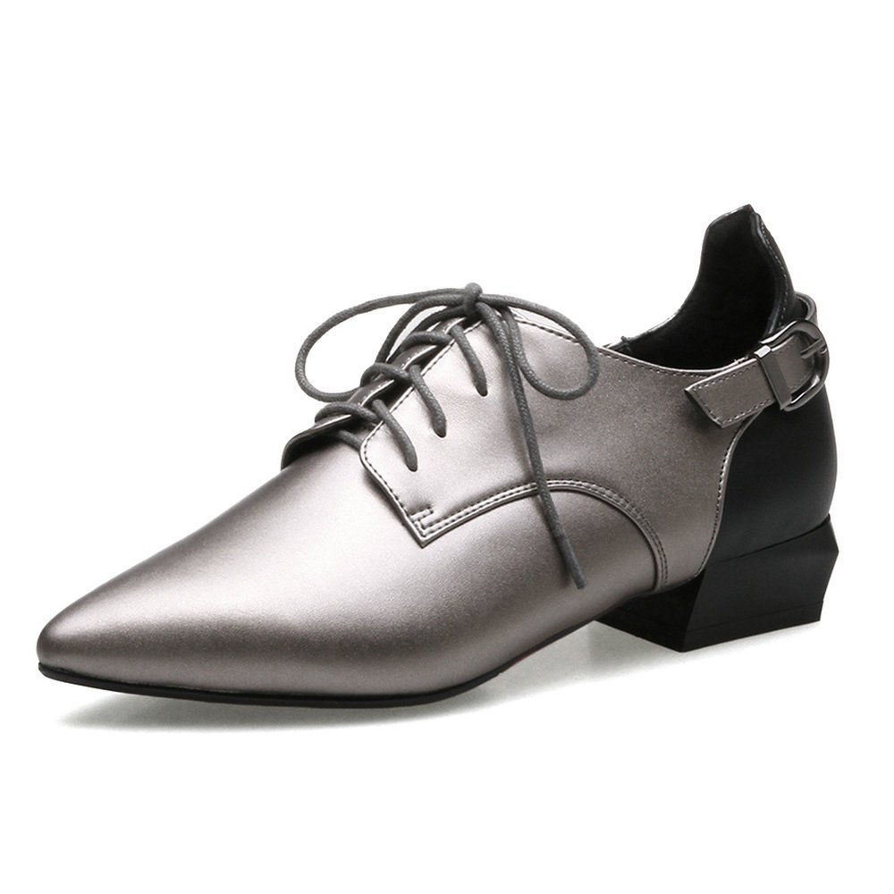 AnMengXinLing ZHONGHENGXIEDAO-70-920-1 - Zapatos Planos con Cordones de Cuero Mujer 35.5 EU|Plata