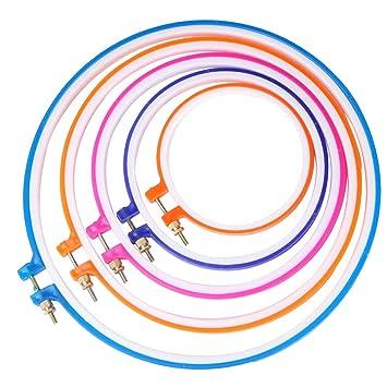 CGBOOM 5 piezas de aros bordados punto de Cruz conjunto de círculo, 5 pulgadas a 11 pulgadas (multicolor): Amazon.es: Hogar