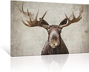 SEVEN WALL ARTS - Moose Pictures Elmer The Moose Modern Wildlife Elk Deer with Big Horn Wall Pictures Vintage Giclee Print on Canvas Stretched Artwork for Living Room Bedroom Decor 24 x 36 Inch