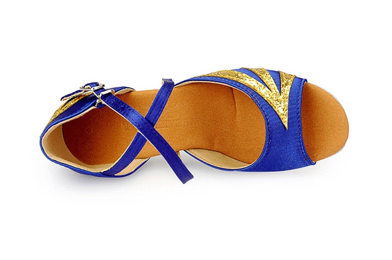 Miyoopark KBTS009B Kids Girls Chunky Low Heel Satin Latin Salsa Tango Wedding Sandals