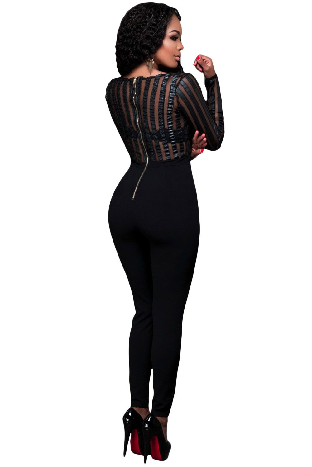 New ladies black faux leather & mesh jumpsuit catsuit club wear party wear  size M UK 10-12 EU 38-40: Amazon.co.uk: DIY & Tools