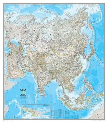 Map Of Asia Dubai.Asia Classic Tubed National Geographic Reference Map Buy