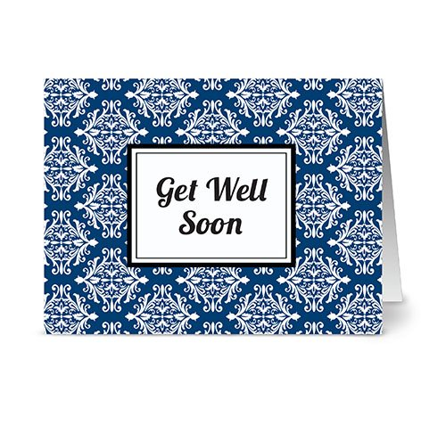 Modern Royal Damask 'Get Well Soon' Navy - 24 Cards - Blank Cards w/ Grey Envelopes ()