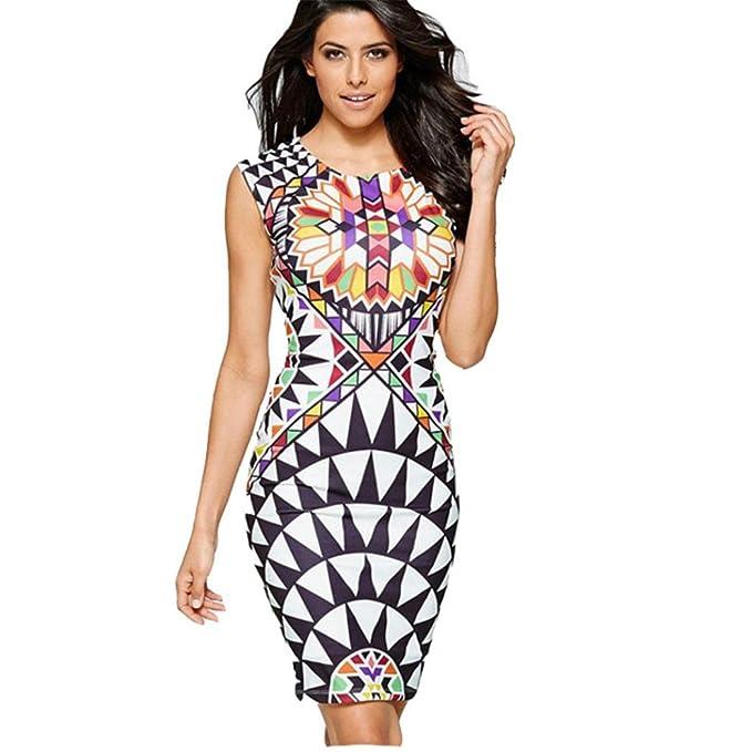 ffe13923f451 Abito Senza Maniche Girocollo Donna KOLY Guaina Office Lady Formal  Multicolor Dress Boho Maniche Spiaggia Vestito