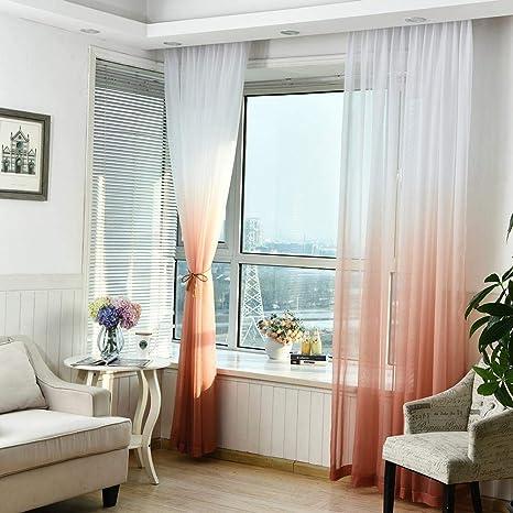 Gr/ün Grau Orange Vorh/änge Transparent Farbverlauf Gardine Schlaufenschal Dekoschal Voile mit /Ösen f/ür Wohnzimmer Schlafzimmer 1er-Pack 270x100 cm Blau Gelb